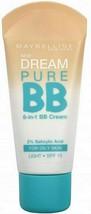 3x Maybelline Dream Pure 8 In 1 Bb Cream 30ml Light - New - $30.75
