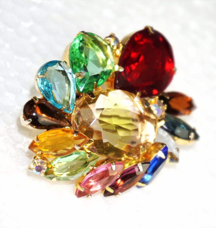 Primary image for Juliana D&E Rhinestone Brooch Spring Colors of Deep Rose Red, Citrine, Pale Gree