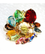 Juliana D&E Rhinestone Brooch Spring Colors of Deep Rose Red, Citrine, P... - $44.57