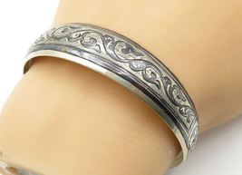 RUSSIA 925 Silver - Vintage Antique Floral Etched Two Tone Cuff Bracelet... - $69.29