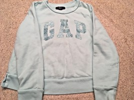 Girl's Gap Kids Long Sleeve Sequin Logo Aqua Sweatshirt (S) - $7.70