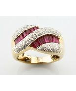 Ruby & Diamond Baguette Cut 18k Yellow Gold Twist Band Ring Size 3.5 - $1,714.69