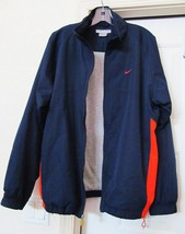 NIKE Golf Jacket Coat Windbreaker Flannel Lined Zipper Blue w Red Men's L - $29.95