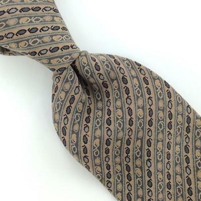 Primary image for PARSOWS MADE IN SPAIN NARROW BEIGE Gray STRIPED PURE Silk Men Necktie I4-282 Tie