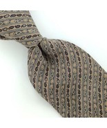 PARSOWS MADE IN SPAIN NARROW BEIGE Gray STRIPED PURE Silk Men Necktie I4... - $15.83
