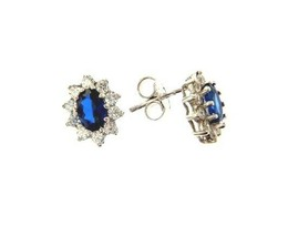 18K WHITE GOLD FLOWER EARRINGS OVAL BLUE CRYSTAL AND CUBIC ZIRCONIA FRAME image 1