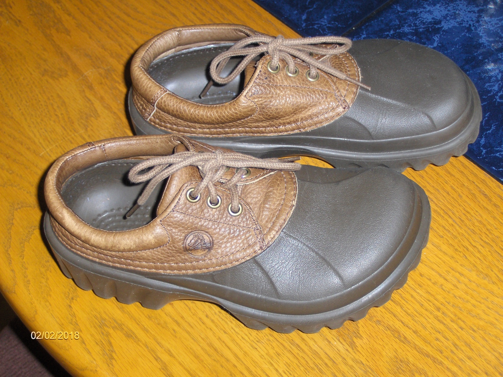 554294e21befee Crocs Axle All Terrain Duck Islander Boat Shoes Brown Leather Upper Womens  W8 M6