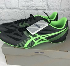 ASICS Men's Hyper MD 6 Track Running Shoes Charcoal Flash Green Box No S... - $22.41
