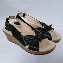 Dansko Sandals Leather Black Knot Wedge Buckle Summer Strap Weave Size 40 - $39.99