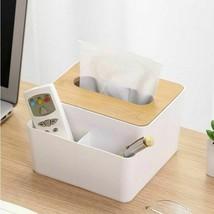 Wooden Cover Plastic Tissue Box Paper Holder Dispenser Organizer Kitchen... - $9.19