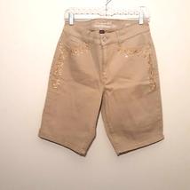 GLORIA VANDERBILT Jessa womens bermuda jean shorts 12 tan high waisted r... - $25.88