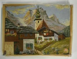 Vintage Tapex Vienna Needlepoint Kit Austrian Village Mountain Scene 357... - $49.50