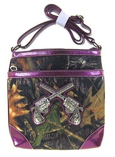 Camo Leaf Western Rhinestone Guns Pistol Messenger Bag Cross Body Purse (Purple)