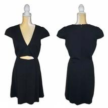 Halston Heritage Black Ponte Knit Dress Size 14 Cap Sleeve Cutout Fit an... - $70.19