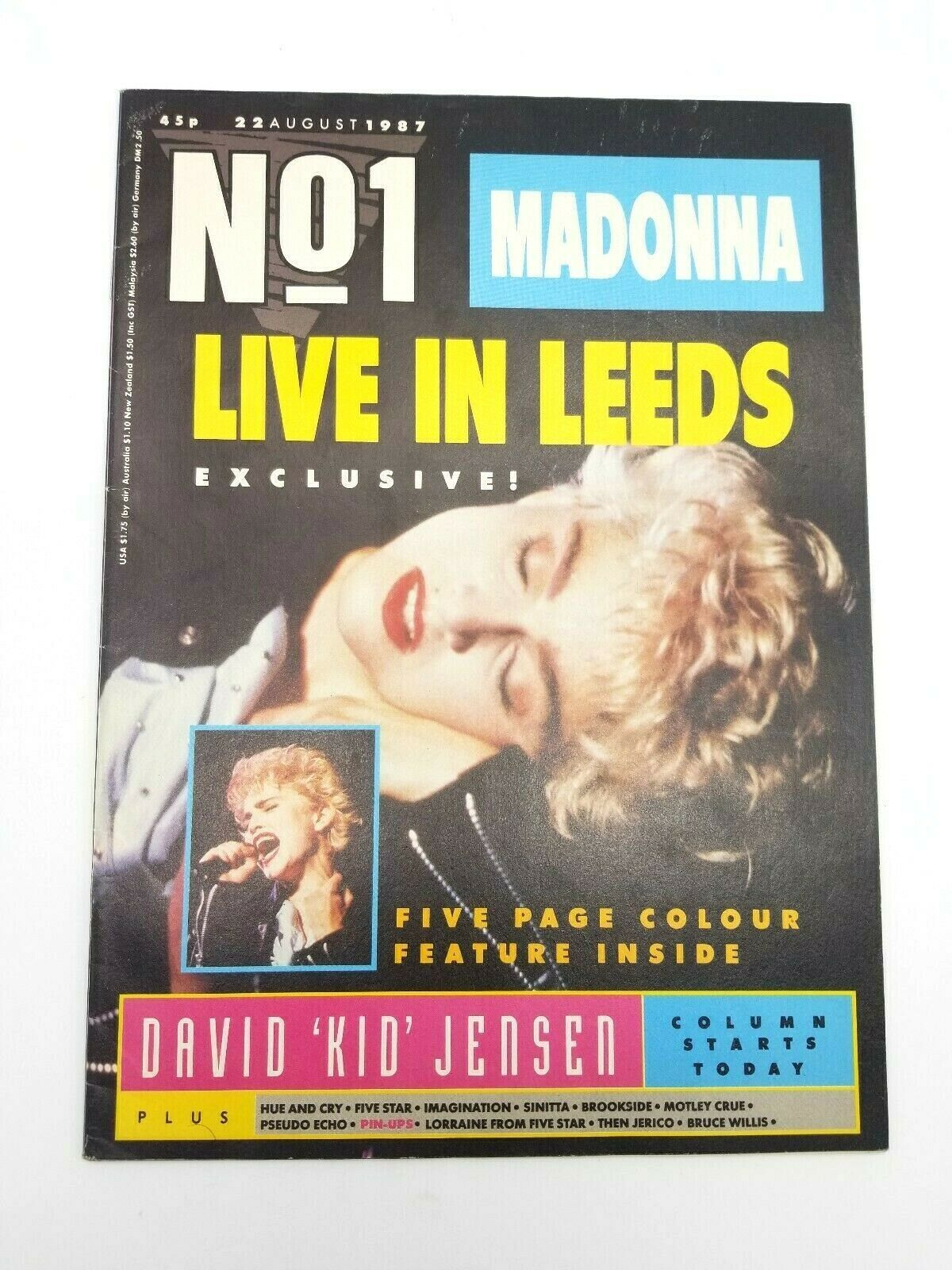 No 1 Magazine August 22 1987 British Import Madonna Live in Leeds Exclusive
