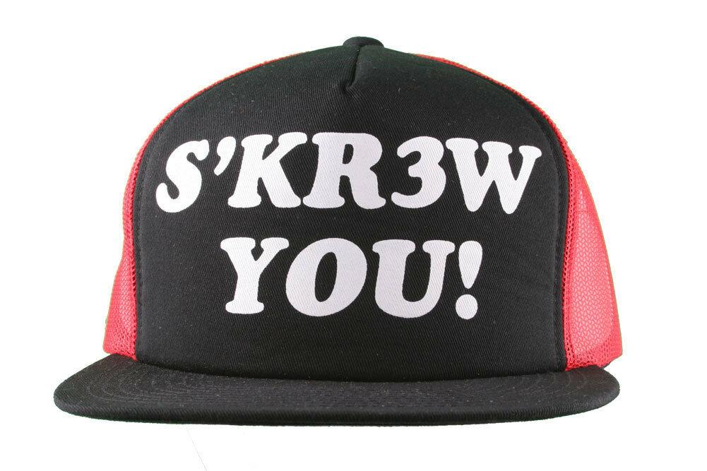 Kr3w Krew Schwarz Rot S' Kr3w Du! Fu Leder Strapback Baseball Trucker Hut Nwt