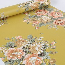 SimpleLife4U Vintage Peony Floral Contact Paper Dark Yellow Peel & Stick... - $21.86