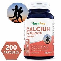 Calcium Pyruvate 2000mg 200caps Non-GMO & Gluten Free Supports Healthy Weight Ma