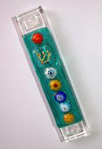 Murano Glass Handmade Mezuzah Case w 6.5 cm Scroll Green Murrina Judaica image 5