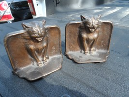 1925 Gothic Medieval Cat Art Statue Bookends Book Ends Cast Iron - $225.00