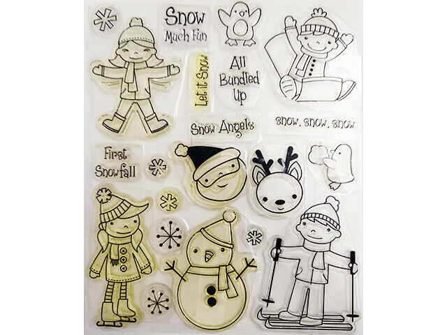 Christmas Clear Stamp Set, Includes Boy, Girl, Santa, Snowman, Sentiments & More