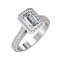 2.52CT Emerald Cut Moissanite Halo Diamond Pave Set Ring 14K White Gold - $3,190.00