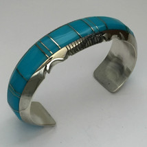 Sterling Silver Navajo Inlay White Buffalo Turquoise Sugilite Cuff Bracelet - $169.99
