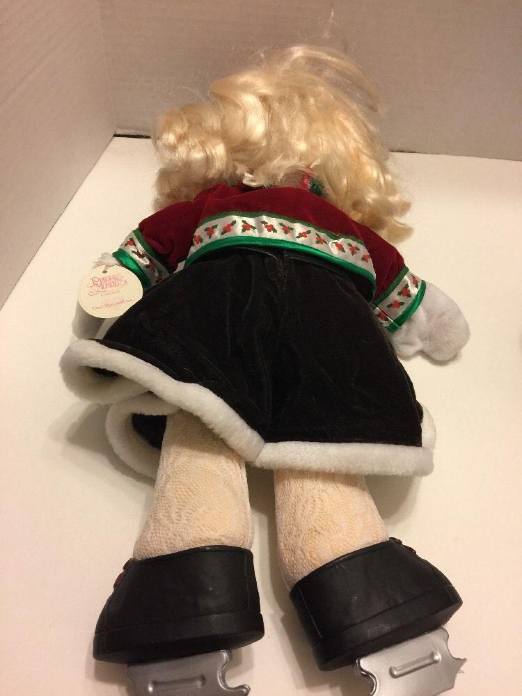 Tara Precious Moments Doll Skates Christmas Holiday 1128 Soft Body Red Velvet