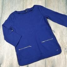 TOMMY HILFIGER sz S womens 3/4 sleeves blue imitation leather trim top I22 - $15.84
