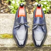 Handmade Men's Blue Slip Ons Loafer Tassel Dress/Formal Leather Shoes image 1
