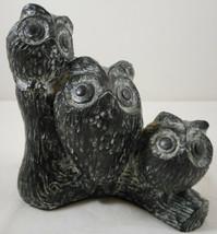 "Vintage Nuvuk Owl Carved Soap Stone Family 4 3/4"" Figurine - $17.81"