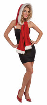 STUNNING RED HOOD WITH SCARF W/ WHITE FAUX FUR TRIM ADULT HOLIDAY ACCESSORY - €15,07 EUR