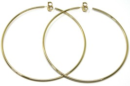 925 STERLING SILVER CIRCLE HOOPS BIG EARRINGS, 9.5cm x 2mm YELLOW SMOOTH image 2