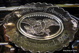 Avon Bicentennial American Eagle USA Clear Glass Platter 1976 - $14.85