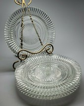 4 Anchor Hocking QUEEN MARY Vertical Ribbed Crystal Rimmed Salad Plate 8... - $39.99