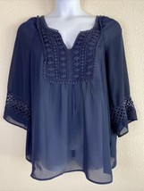 Hannah Womens Plus Size 1X Blue Crochet Embellished Blouse 3/4 Sleeve - $17.82