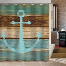 CHARMHOME Vintage Retro Nautical Anchor Custom Bathroom Shower Curtain - Turquoi - $35.89