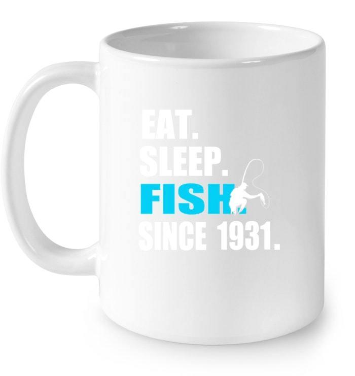 Eat Sleep Fish Since 1931 87th Birthday Gif Gift Coffee Mug