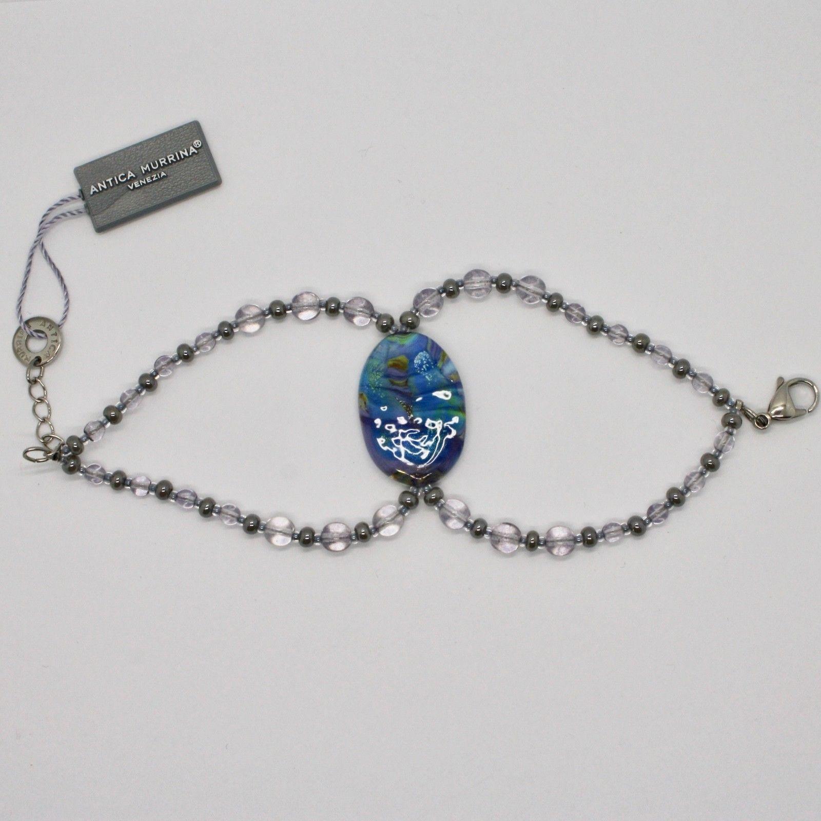 BRACELET ANTICA MURRINA VENEZIA WITH MURANO GLASS BLUE PURPLE GRAY BR795A07