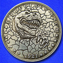 "Jurassic ""Hobo Nickel"" on Morgan Dollar Coin ** - $4.79"