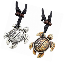 Sea Turtle Necklace Pendant Tortoise Engraved Bone Leather Wax Rope 2Pcs/set - $24.24+