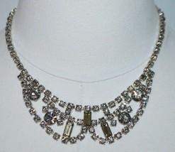 WEISS Signed Art Deco Styled Smokey Gray Rhinestone CZ Choker Necklace Vintage - $98.99