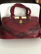 AUTH MARC JACOBS LEATHER RED HAND BAG SNAKESKIN BRAIDED MEDIUM - ₨4,071.97 INR