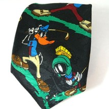 Looney Tunes Mania Golf Tie Necktie Bugs Bunny Taz Daffy Duck Black Multicolor - $14.83