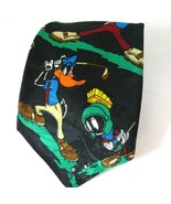 Looney Tunes Mania Golf Tie Necktie Bugs Bunny Taz Daffy Duck Black Mult... - $14.83