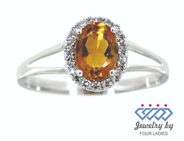 Real Natural Diamond Halo Oval Ring 14K White Gold Citrine Gemstone Fine... - $787.00