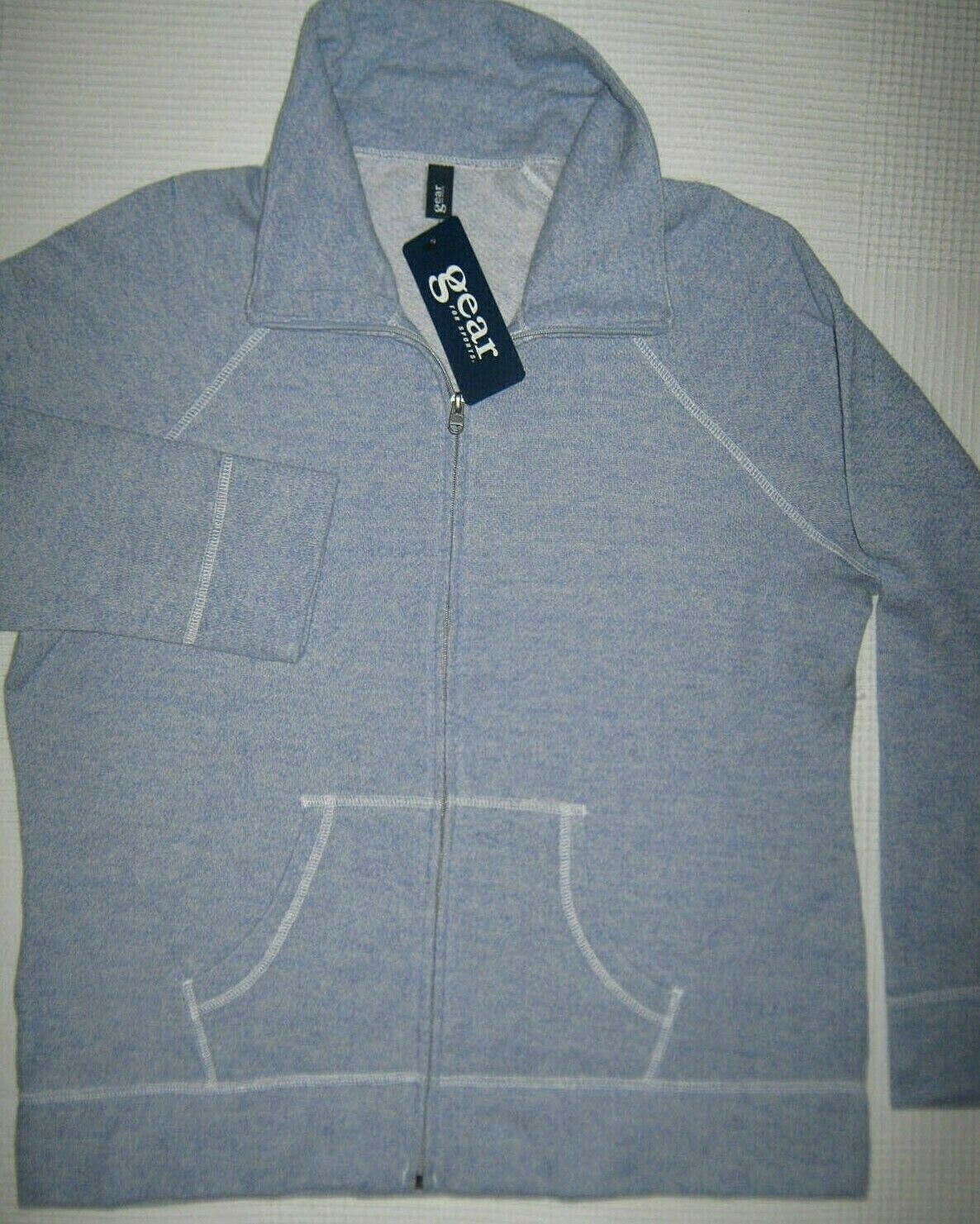 GEAR Sports Womens Track Sweatshirt Blue NWT Kangaroo Pockets Raglan Sleeves XL