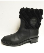 AUTH Chanel Black Quilted Shearling Fur CC Logo Short Leather Boots Shoe... - $1,395.00