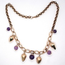 Necklace Silver 925, Pink, Amatista Purple, Hot Chilli Domed Hanging image 2