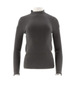 GILI Ribbed Scallop Neck Sweater, Hthr Charcoal,Size Medium, NEW A311409 - $29.69